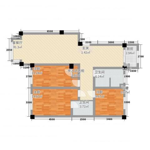 馥润嘉园3室1厅2卫1厨104.13㎡户型图