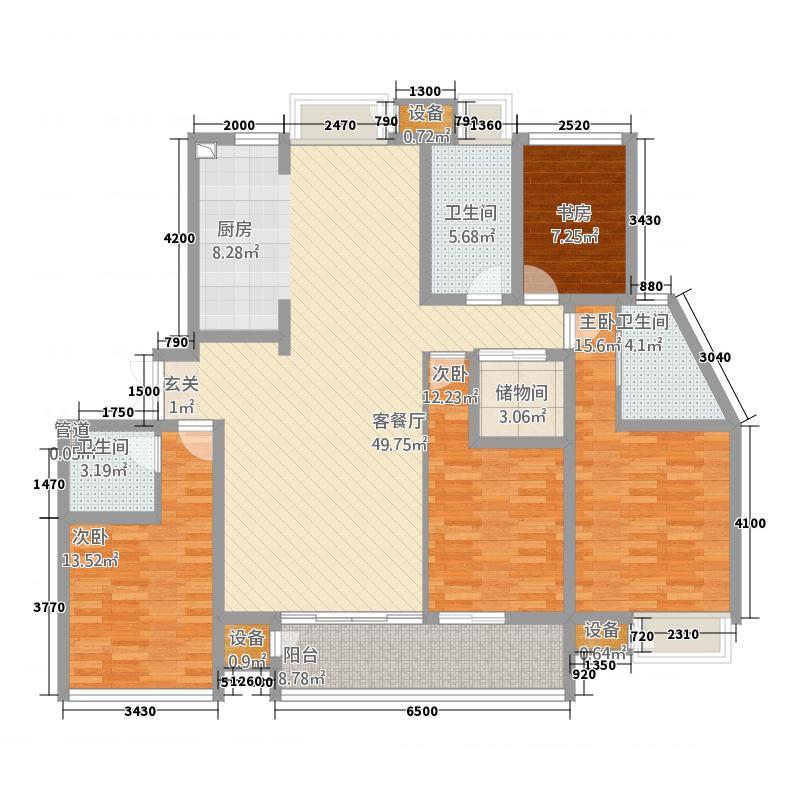 天润园177.20㎡三期5d户型4室2厅3卫1厨