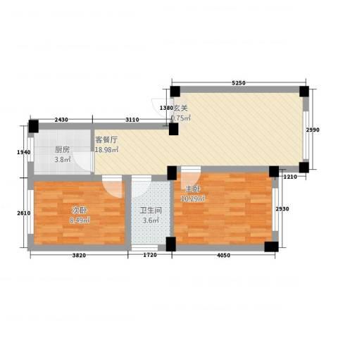 天福新城2室1厅1卫1厨67.00㎡户型图
