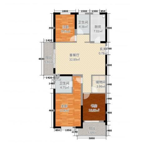 兴隆大家庭3室1厅2卫1厨148.00㎡户型图