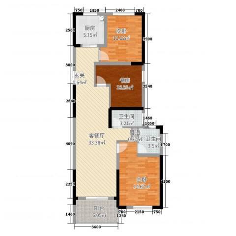 兴隆大家庭3室1厅2卫1厨131.00㎡户型图