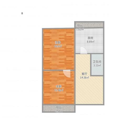 二七广场北斗街2室1厅1卫1厨83.00㎡户型图