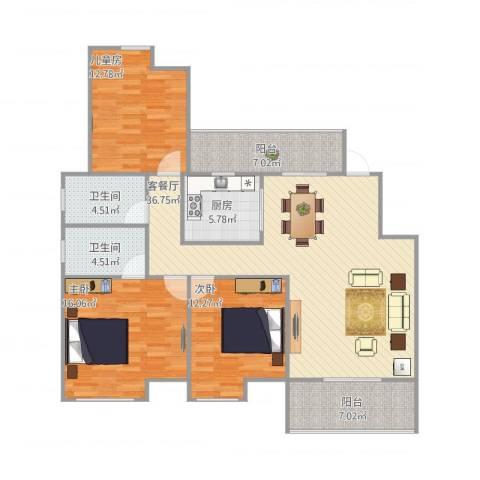 宝能城市广场3室1厅2卫1厨144.00㎡户型图