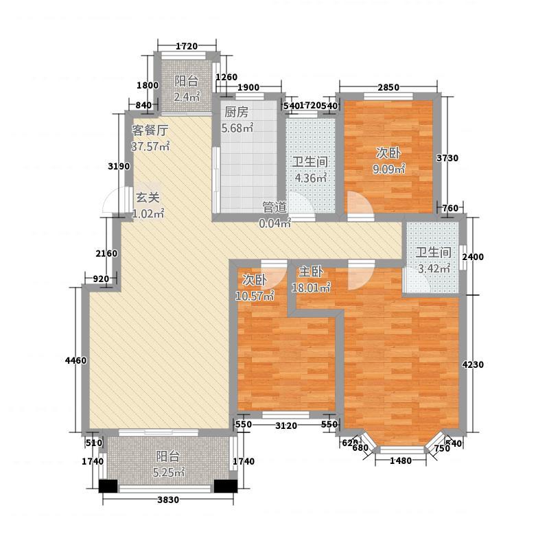 亚华桂竹园13.60㎡户型3室2厅2卫1厨