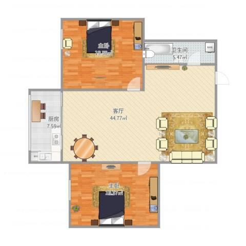 锦江园2室1厅1卫1厨128.00㎡户型图