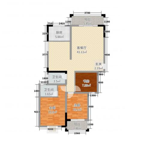 天鹅湖1号3室1厅2卫1厨141.00㎡户型图