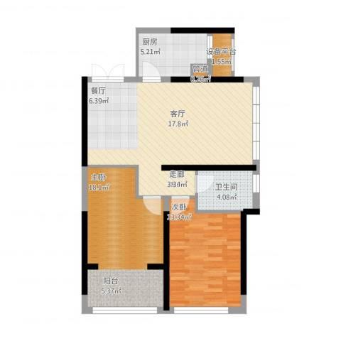 罗蒙环球城2室1厅1卫1厨101.00㎡户型图
