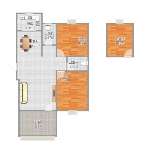 雅典阳光3室1厅2卫1厨113.00㎡户型图