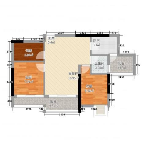 狮山丽晶3室1厅1卫1厨70.00㎡户型图