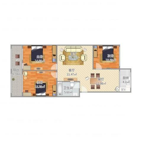 华龙路单位宿舍3室1厅1卫1厨129.00㎡户型图