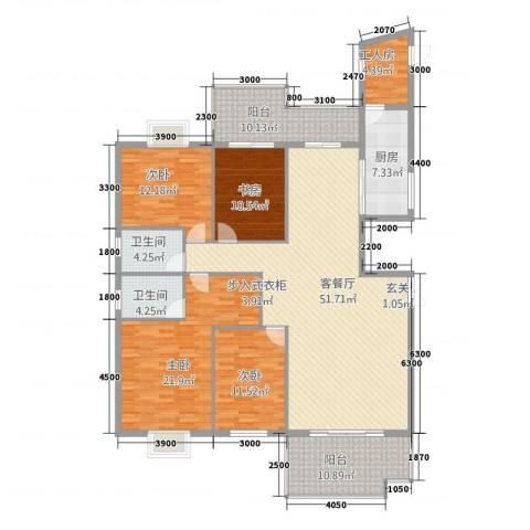 新景5.84室1厅2卫1厨206.00㎡户型图