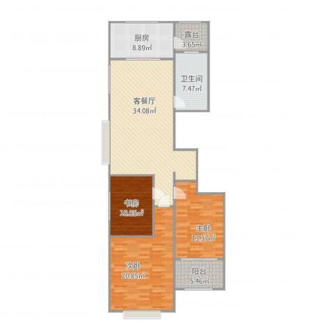 浪琴湾1243室1厅1卫1厨139.00㎡户型图
