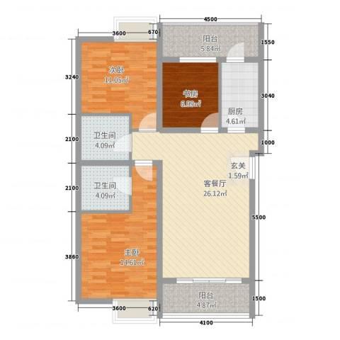 金东中环城3室1厅2卫1厨94.54㎡户型图
