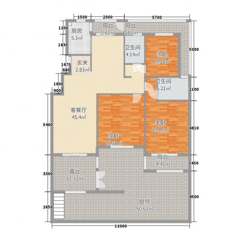 维多利亚145.35㎡C户型3室3厅2卫1厨