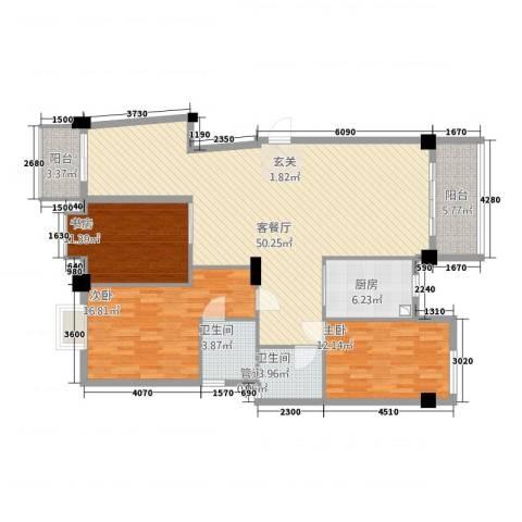 书香佳缘3室1厅2卫1厨159.00㎡户型图
