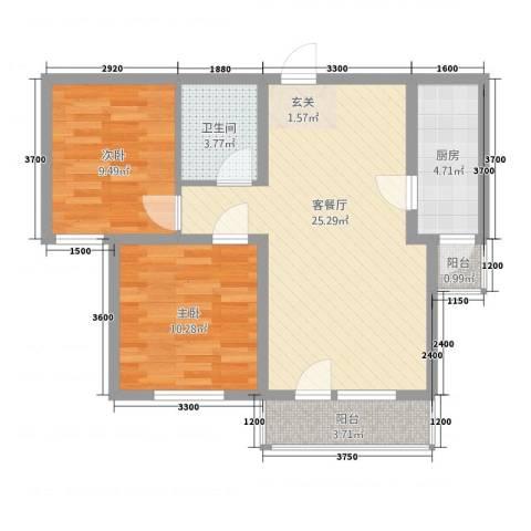 银都海棠花园9号楼2室1厅1卫1厨58.23㎡户型图
