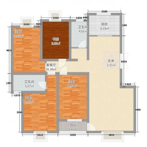 宇丰・东城天韵4室1厅2卫1厨157.00㎡户型图
