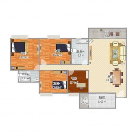明日嘉园3024室1厅2卫1厨186.00㎡户型图