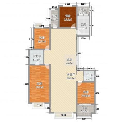 华富世家三期4室1厅2卫1厨212.00㎡户型图