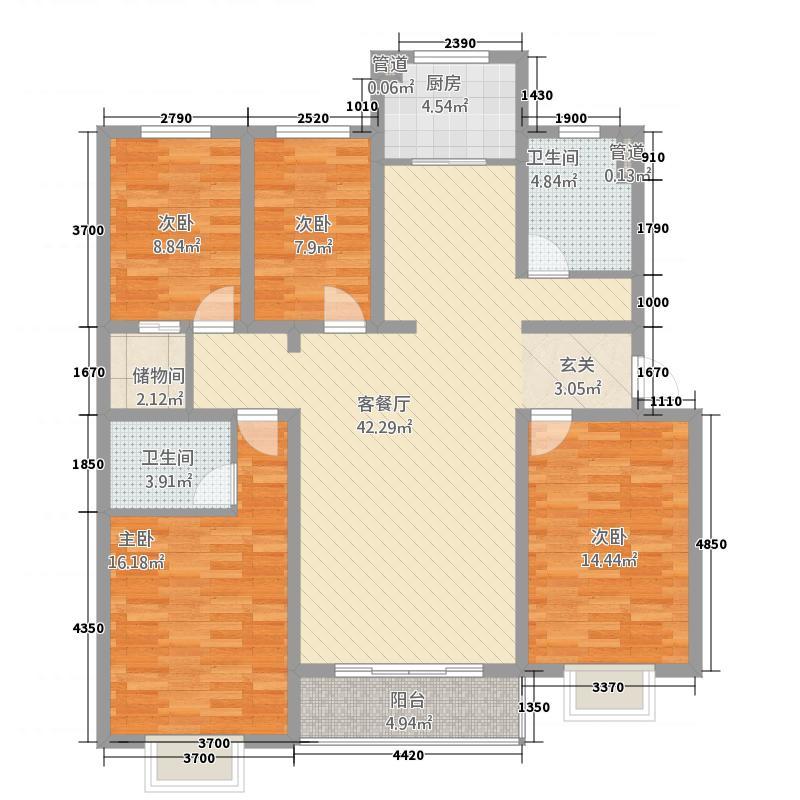 新东亚城市花园158.00㎡L户型4室2厅2卫1厨
