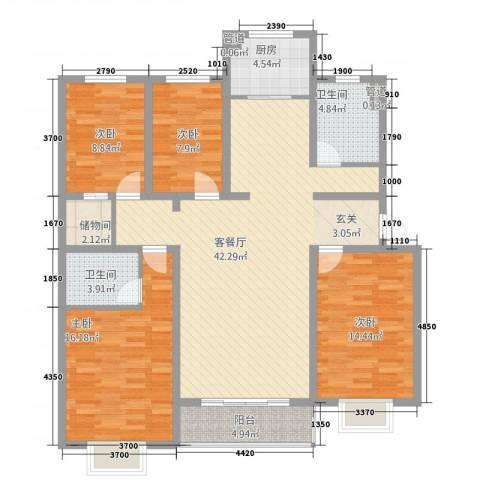 新东亚城市花园4室1厅2卫1厨158.00㎡户型图