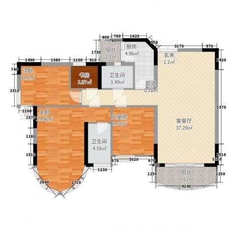 骏景约克公寓4室1厅2卫1厨142.00㎡户型图