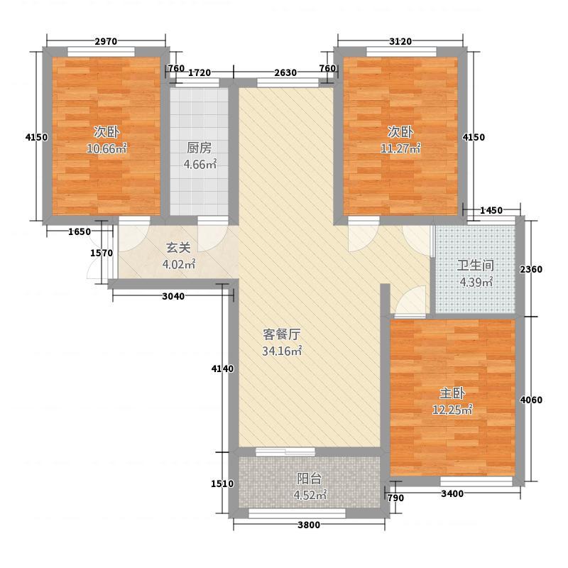 卡迪亚庄园117.60㎡G4户型3室1厅1卫1厨
