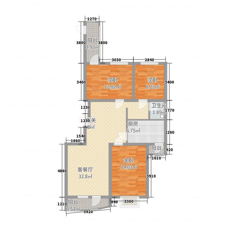 利源帝景114.50㎡--户型3室2厅1卫1厨