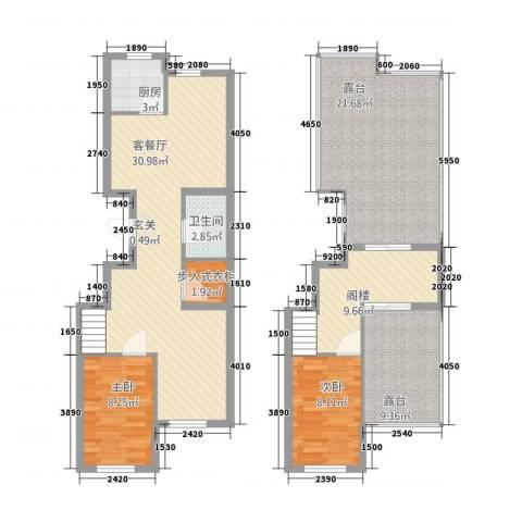 永和・国际广场2室1厅1卫1厨135.00㎡户型图