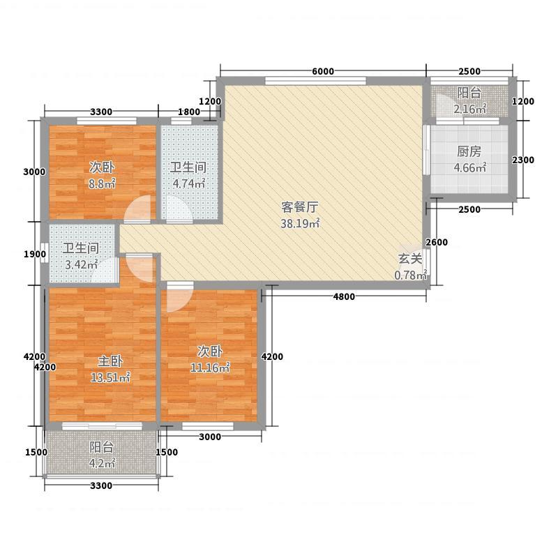 现代城32116.54㎡户型3室2厅2卫1厨