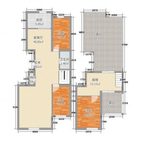 永和・国际广场3室1厅1卫1厨168.00㎡户型图