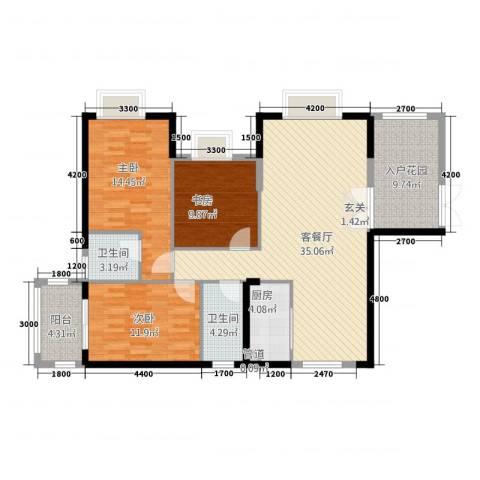 景山一号3室1厅2卫1厨126.00㎡户型图