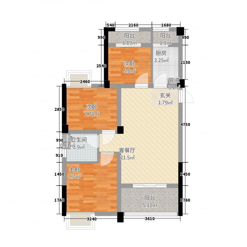 亿利城33288.20㎡A3户型3室2厅1卫1厨