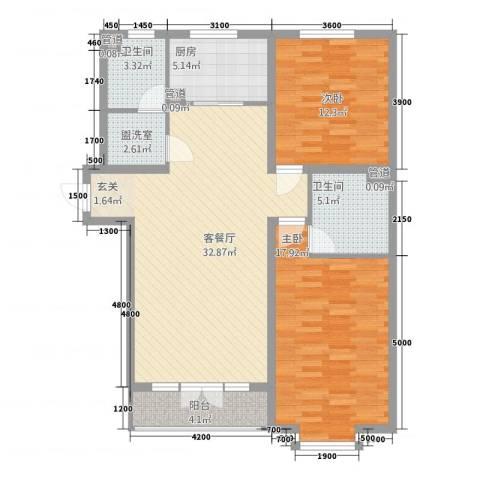 清荷苑2室2厅2卫1厨119.00㎡户型图