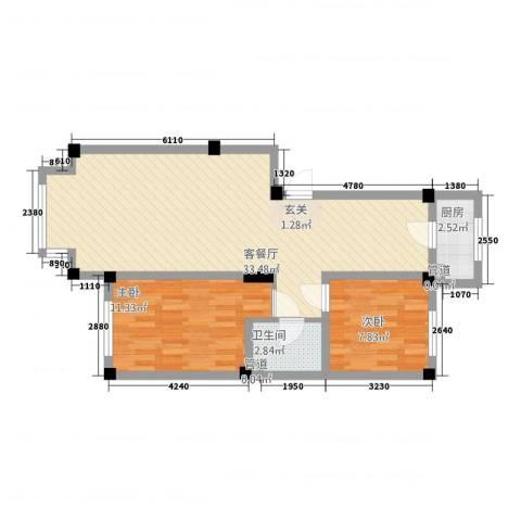 馥润嘉园2室1厅1卫1厨67.00㎡户型图