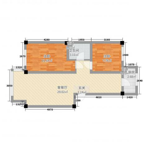 馥润嘉园2室1厅1卫1厨63.00㎡户型图