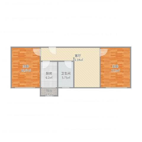华宁北里2室1厅1卫1厨92.00㎡户型图