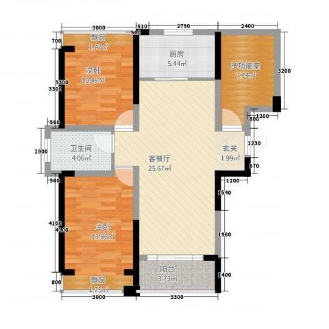 建业时光原著2室1厅1卫1厨100.00㎡户型图