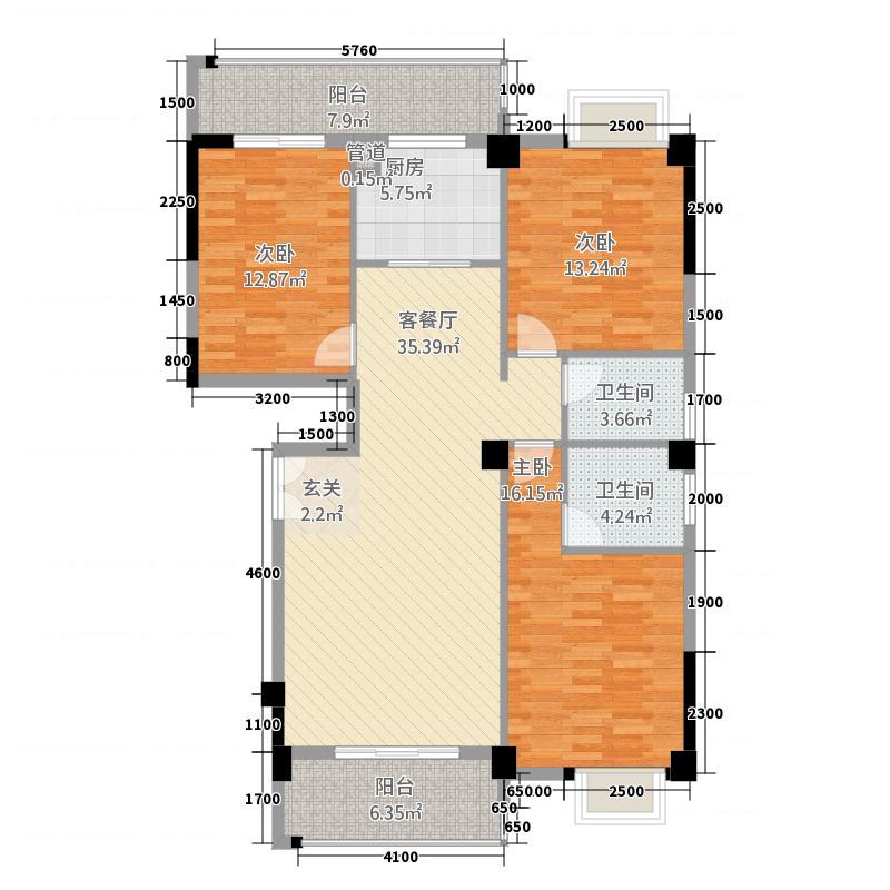 塘宁湾・优盘6137.20㎡6号楼0104单元3室户型3室2厅2卫1厨