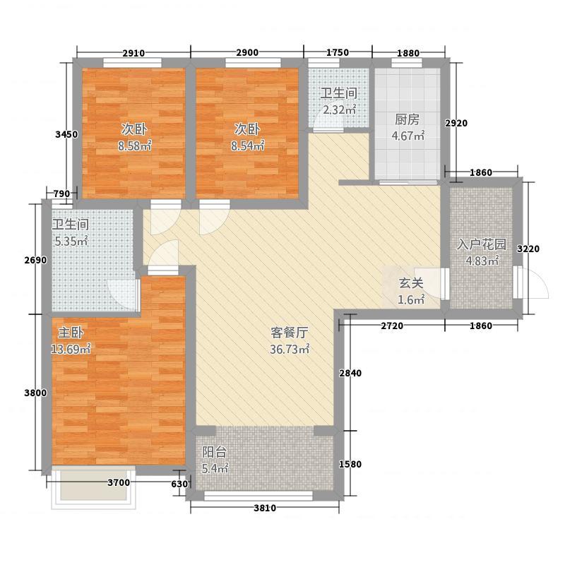 卡迪亚庄园121.27㎡G2户型3室2厅2卫1厨