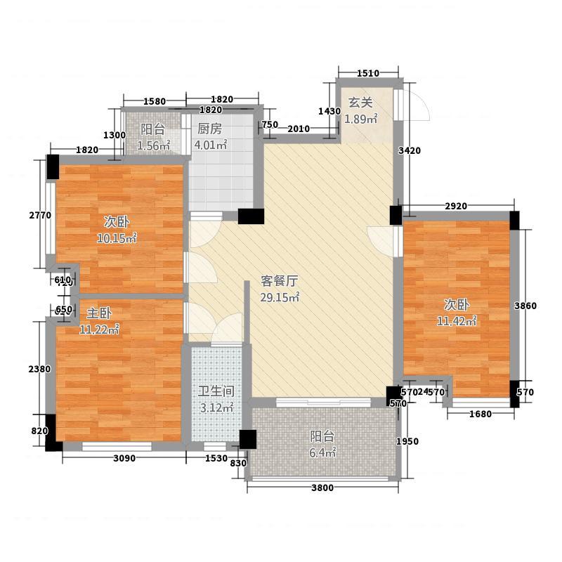 福镇8.46㎡F2户型3室2厅1卫1厨