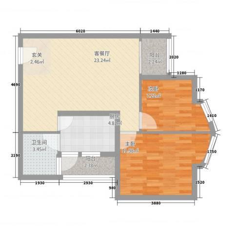 恒安大厦恒福轩2室1厅1卫1厨55.32㎡户型图