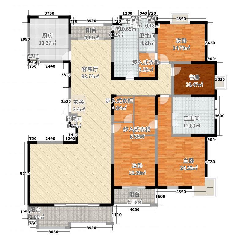 太阳都市花园户型图A户型 4室2厅3卫