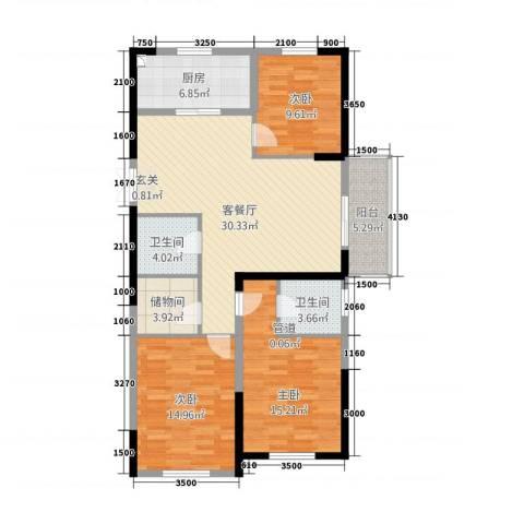 兴隆大家庭3室1厅2卫1厨141.00㎡户型图