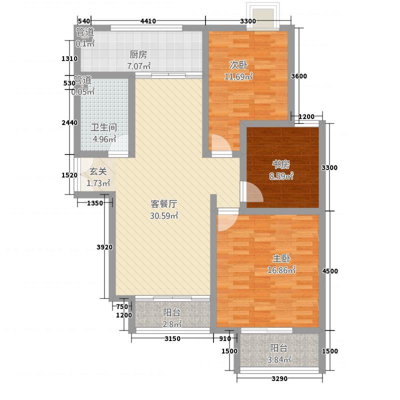 森海湾1单元D户型3室2厅1卫1厨