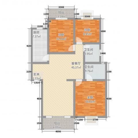 莲湖分局家属院3室1厅2卫1厨139.00㎡户型图