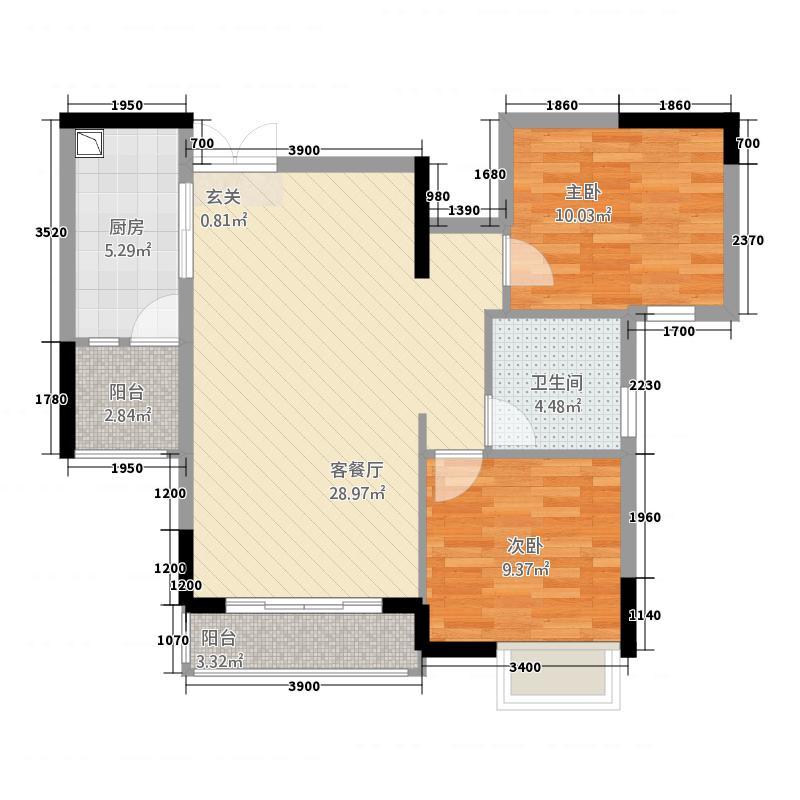 中建・金象广场二期1.10㎡221-9191_副本户型2室2厅1卫1厨
