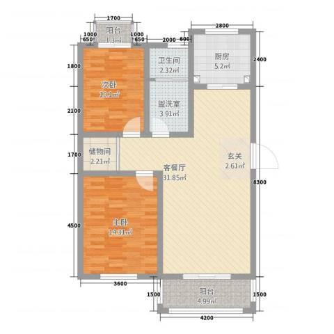 映象西班牙2室2厅1卫1厨111.00㎡户型图