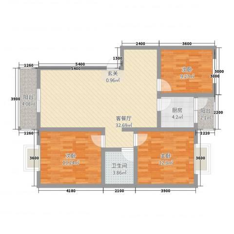 莲湖分局家属院3室1厅1卫1厨117.00㎡户型图