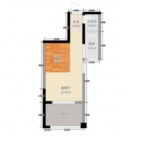 曼哈顿广场1厅1卫1厨41.38㎡户型图